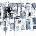 #1138 Pen and Ink, watercolor Scribble with Blue