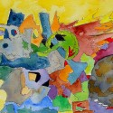 #820. abstract watercolor, pen and ink, art under $500