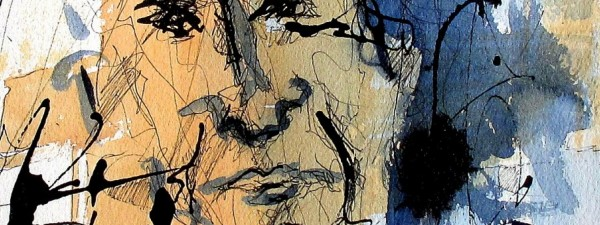 #892 Watercolor and ink, figurative abstract